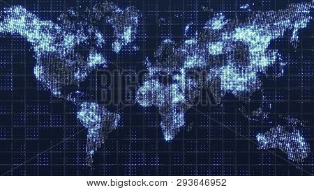 Global Technology World Map, Globe Worldmap Icon, 3d Render Backgroung
