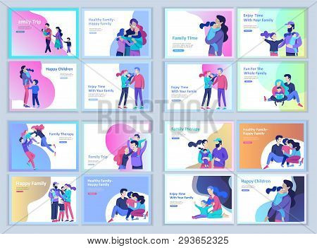 Set Of Landing Page Templates Happy Family, Travel And Psychotherapy, Family Health Care, Goods Ente