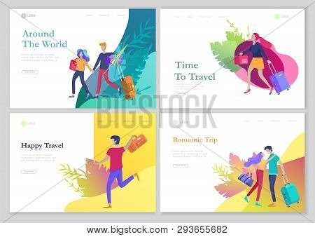 Landing Page Template With People Travel On Vacation. Tourists With Laggage Travelling With Family,