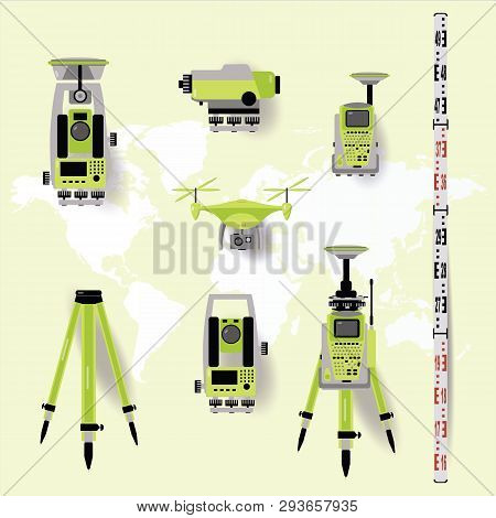 Geodetic measuring equipment, engineering technology for land survey on world map background. Flat d