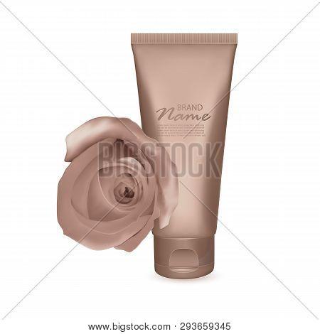 Tonal Foundation Cream, 3d Bottle And Tube Isolated On White Background, Illustration Of Realistic T