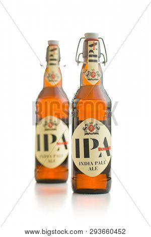 PRAGUE, CZECH REPUBLIC - APRIL 4, 2019: IPA india pale ale beer.  IPA beer made in Czech brewery Bernard.