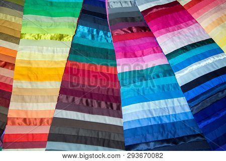 Mix Color Shade Fabric Desiner Pattern Garment. Color Designer Mix And Mach For Dress Or Furniture