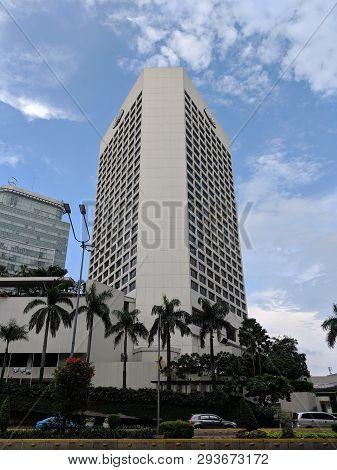 Jakarta, Indonesia - February 16, 2019: Background Of Mandarin Oriental Jakarta Hotel On Jalan Thamr