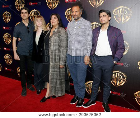Viveik Kalra, Nell Williams, Gurinder Chadha, Sarfraz Manzoor and Aaron Phagura at the 2019 CinemaCon - 'The Big Picture' Presentation held at the Caesars Palace in Las Vegas, USA on April 2, 2019.