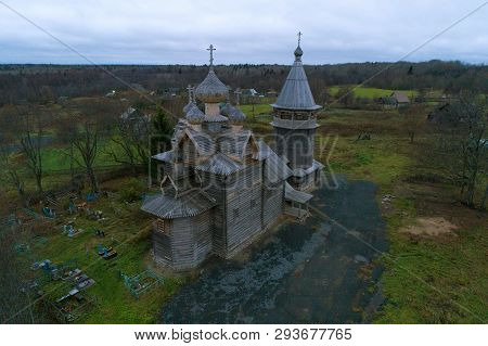 Old Wooden Church Of Dmitry Solunsky In November Evening (shooting From A Quadrocopter). Village Shc
