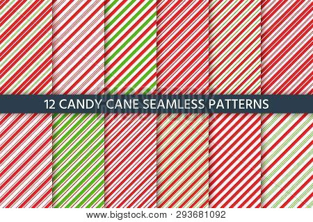 Cane Candy Pattern. Vector. Christmas Seamless Background.  Holiday Diagonal Red Green Wrapping Pape