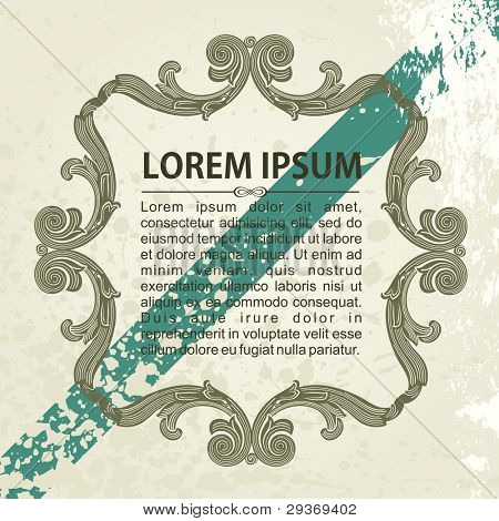 ornate vector frame ornaments with sample text grunge style