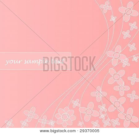 Abstract pink background with waves and flowers