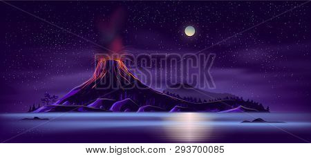 Sea Or Ocean Desert, Uninhabited Island Shore Night Landscape With Active, Ready For Eruption Volcan
