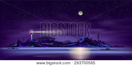Sea Or Ocean Island, Wild Northern Land Seashore Night Landscape With Working In Dusk Lighthouse On