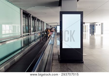 Blank Advertising Billboard At Airport, Mock Up Poster Media Template Ads Display In Subway Station