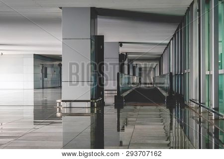 Interior Of The Modern Architectural In Shanghai Airport. Empty Airport Building. Bright Light From
