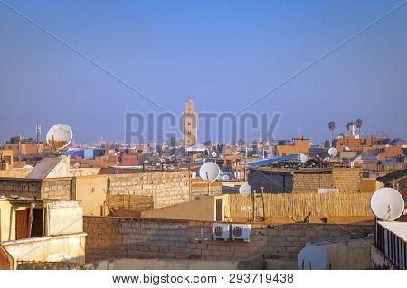 Panorama Of Marrakesh Morning Time. Marrakesh, Marrakesh-safi, Morocco.