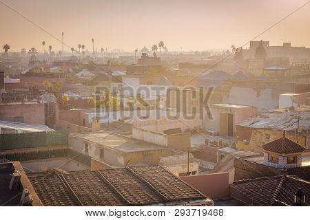 Panorama Of Marrakesh At Sunrise. Marrakesh, Marrakesh-safi, Morocco.