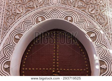 Door In Old Town Of Marrakesh. Marrakesh, Marrakesh-safi, Morocco.