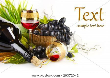 Glass Of Wine With Grapes