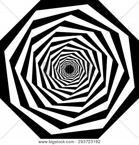 Abstract Arabesque Swirl Octogon Stairs Multiple Perspective Black On Transparent Background Graphic