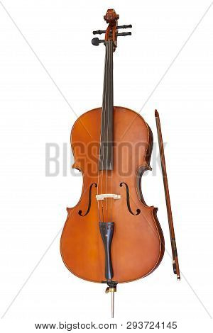 Classic Stringed Musical Instrument, Cello Isolated On White Background