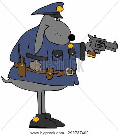 Illustration Of A Dog Wearing A Police Uniform And Aiming A Pistol.
