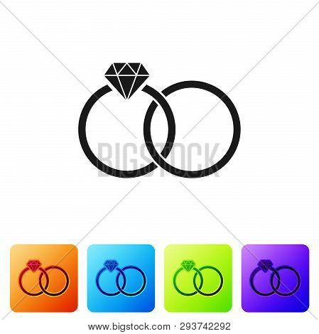 Black Wedding rings icon isolated on white background. Bride and groom jewelery sign. Marriage icon. Diamond ring. Set icon in color square buttons. Vector Illustration poster