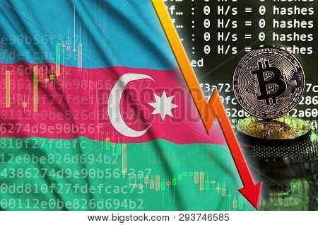Azerbaijan Flag And Falling Red Arrow On Bitcoin Mining Screen And Two Physical Golden Bitcoins