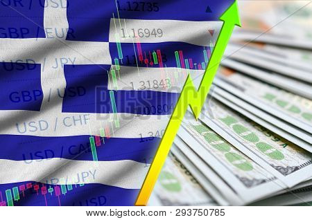 Greece Flag And Chart Growing Us Dollar Position With A Fan Of Dollar Bills