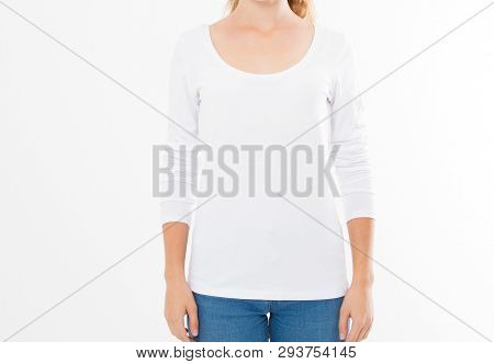 Midsection Of Young Woman Wearing Blank Tshirt On White Background, Girl In T-shirt Mock Up Isolated