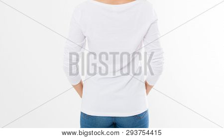 Back View: Woman In White T-shirt Mock Up Isolated, T Shirt Female, Blank Tshirt