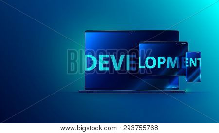 Development Software. Technology Business Programming And Coding App. Word Development On Screen Of