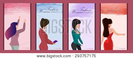 Set Models Demonstrate Fashion Woman Collection. Vector Illustration Landing Page. Spring Summer Rom
