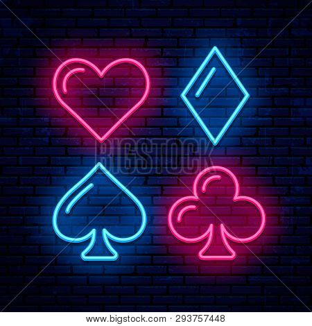 Vector Neon Icons. Poker, Blackjack Card Suits