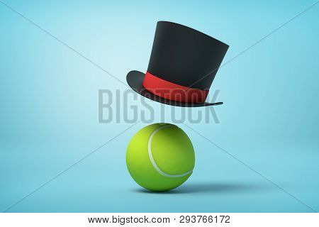 3d Rendering Of Tennis Ball And Black Tophat Floating In Air Above It On Light Blue Background.