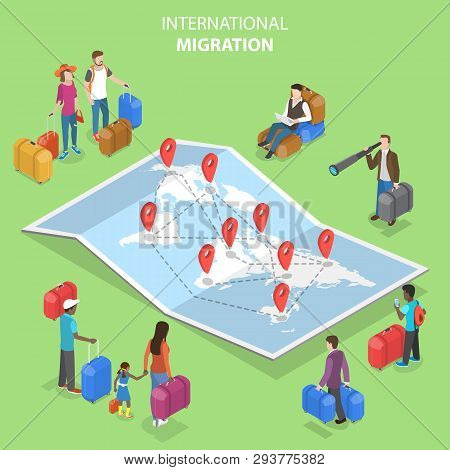 Isometric Flat Vector Concept Of International Migration, Immigration.