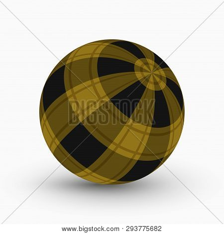Yellow And Black Tartan, Plaid Ball With Translucent Ocher Stripes And Shadow In Front Of A White Ba