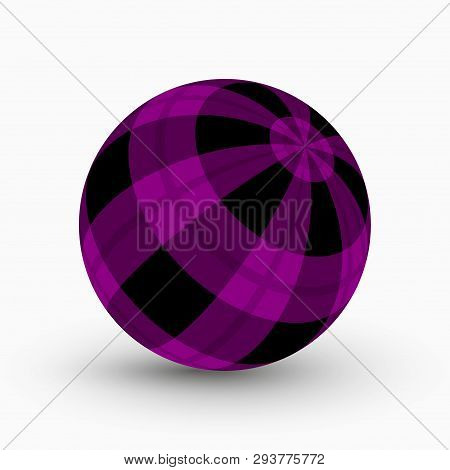 Purple And Black Tartan, Plaid Ball With Translucent Purple Stripes And Shadow In Front Of A White B