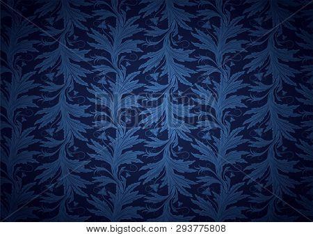 Vintage Gothic, Royal Background In Dark Blue, Sapphirine, Ultramarine With Classic Floral Baroque P
