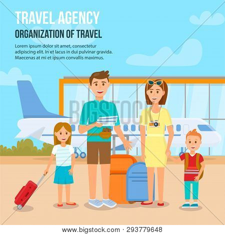 Travel Agency. Organization Of Travel Square Banner With Copy Space. Happy Family With Children Trav