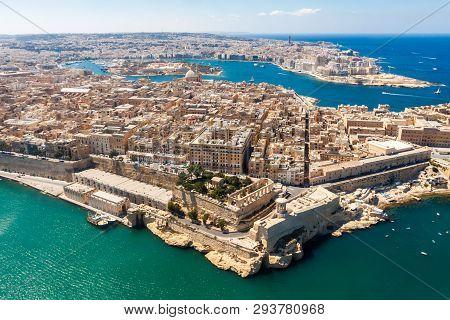 Historical Valetta, Capital City Of Malta, Grand Harbour, Gzira And Sliema Towns, Manoel Island In M