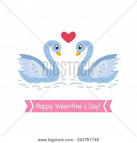 Valentines Day Greeting Card With A Couple Swans