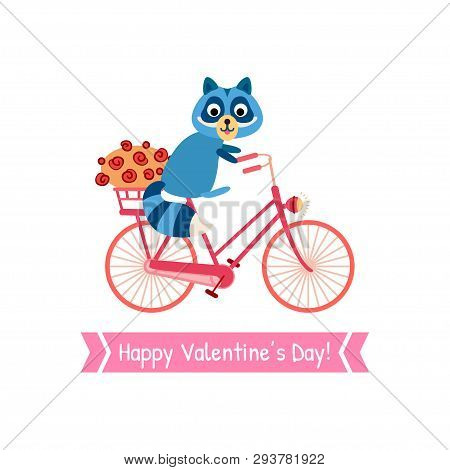 Valentines Day Greeting Card With Raccoon On A Bicycle
