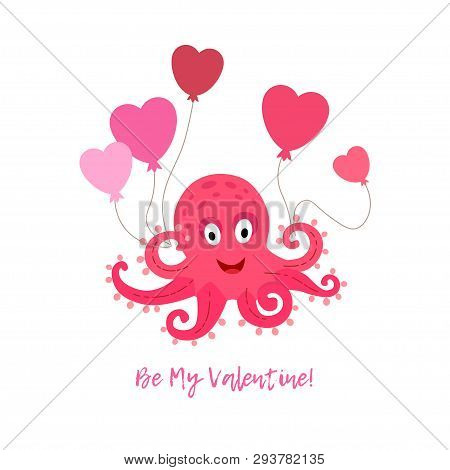 Valentines Day Greeting Card With Octopus And Air Balloons