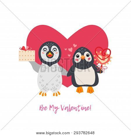 Valentines Day Greeting Card With A Couple Of Penguins