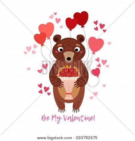 Valentines Day Greeting Card With Teddy Bear And Air Balloons