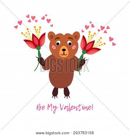 Valentines Day Greeting Card With Teddy Bear And Red Flowers