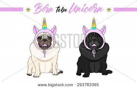 Cute Vector Black And Fawn Pug Puppy Dogs Sitting Down, Wearing Pink Bonnet With Unicorn Horn With R