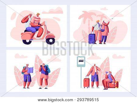 Senior People Traveling Set. Aged Touristic Travelers Waiting Bus On Station, Riding Bike, Watching