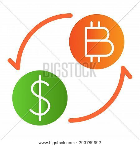 Cryptocurrency Exchange Flat Icon. Cents And Bitcoin With Arrows Color Icons In Trendy Flat Style. D