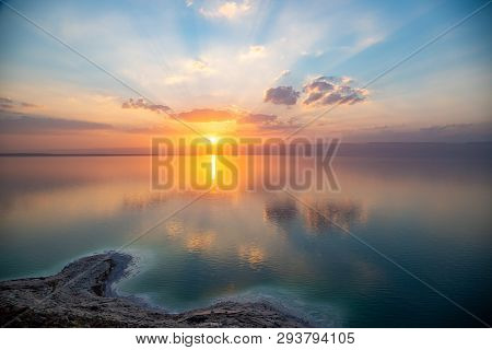 Amazing Sunset Over Dead Sea, View From Jordan To Israel And Mountains Of Judea. Madaba Governorate