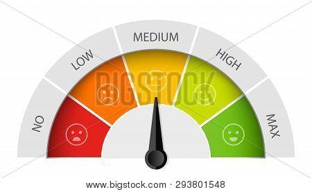 Creative Vector Illustration Of Rating Customer Satisfaction Meter. Different Emotions Art Design Fr